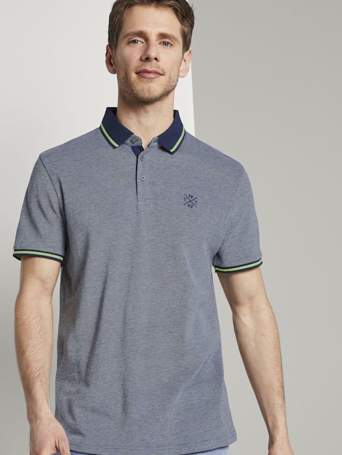 Tom Tailor Zweifarbiges Poloshirt mit Kontrastblende, dark blue two tone