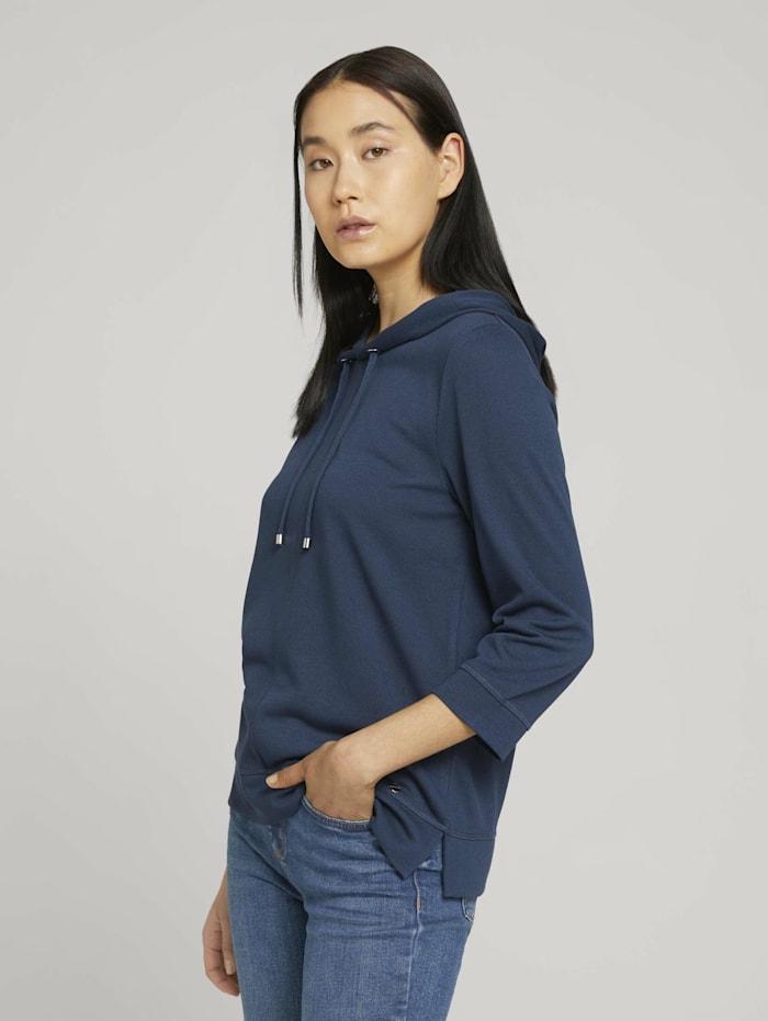 Tom Tailor 3/4 Arm Shirt mit Kapuze, Dark Denim Blue
