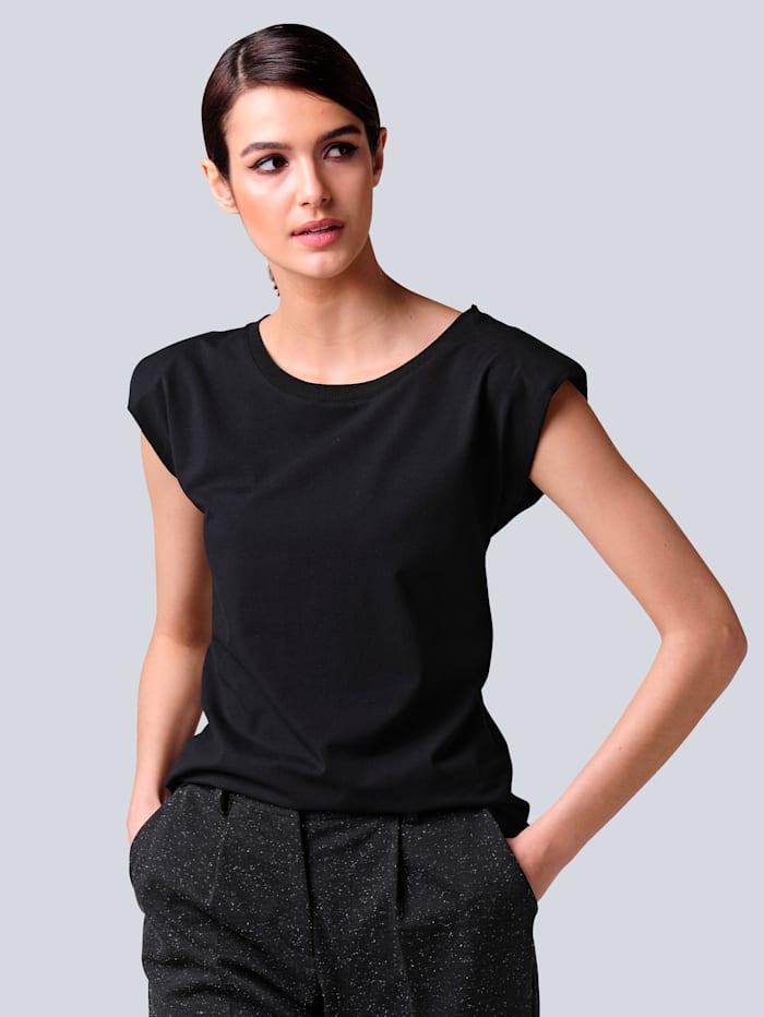 Alba Moda Shirt mit modischen Schulterpolstern, Schwarz