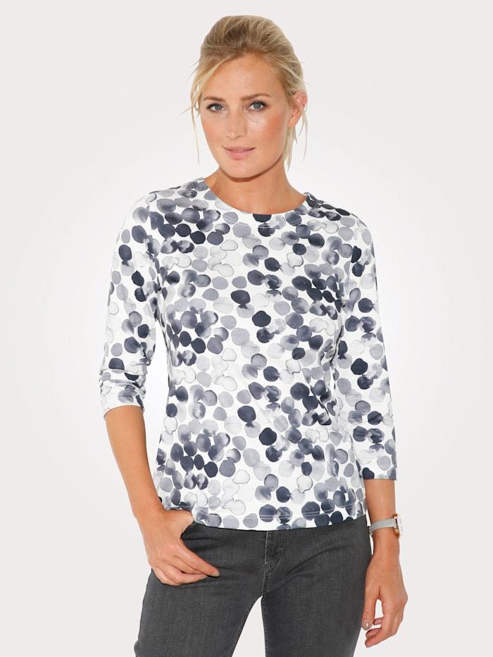 MONA Shirt aus Feinjersey, Weiß/Grau