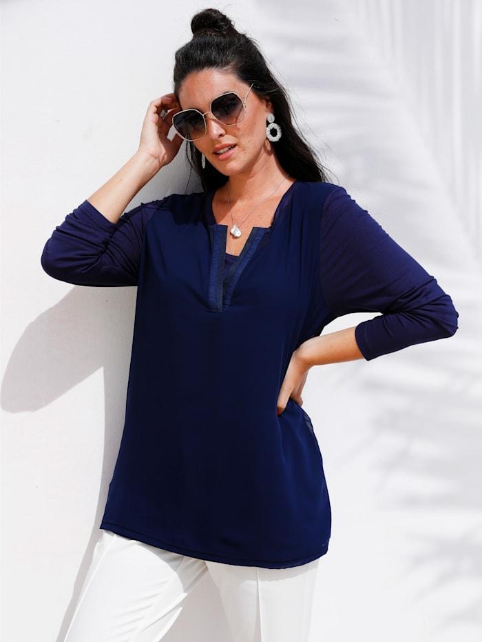 MIAMODA 2-in-1 Shirt mit integriertem Top, Marineblau