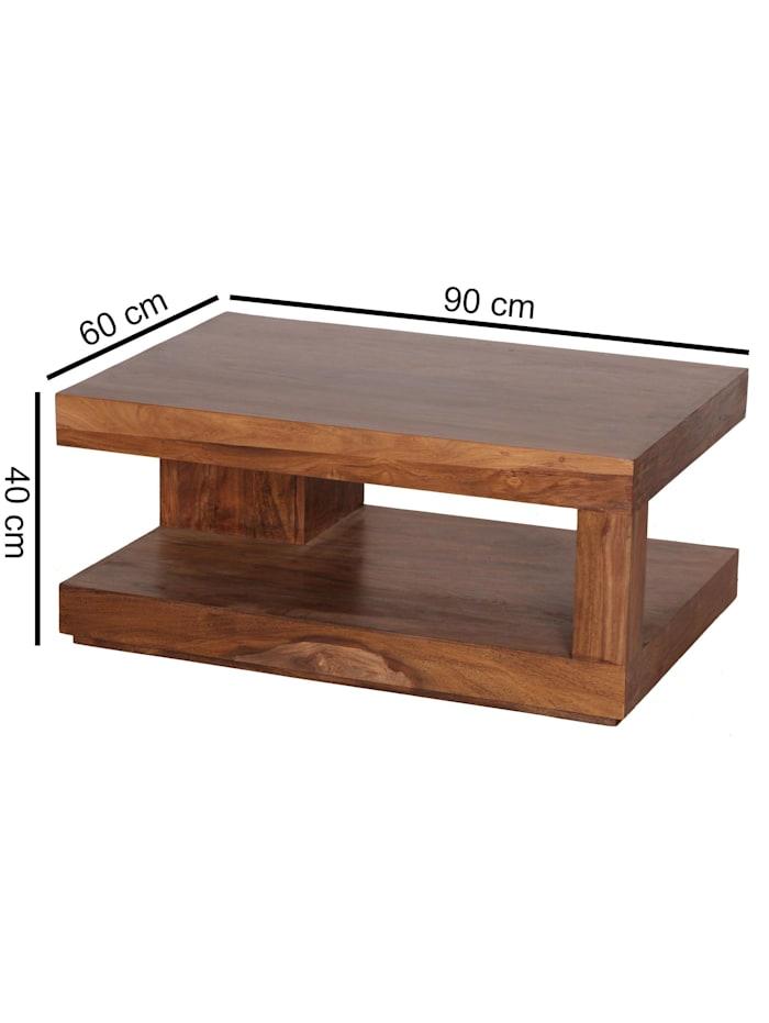 Couchtisch Massiv-Holz 90 cm Design Wohnzimmer-Tisch dunkel-braun Landhaus-Stil Beistelltisch
