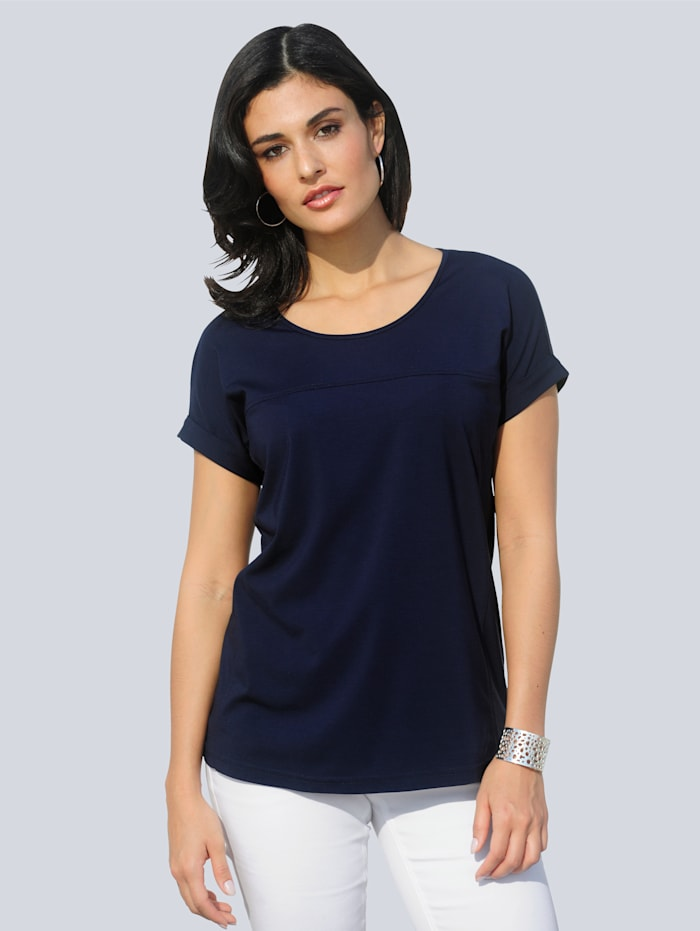 Alba Moda Shirt mit Teilungsnähten im Vorderteil, Marineblau
