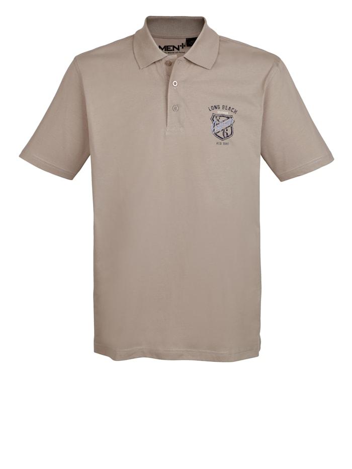 Men Plus Poloshirt aus reiner Baumwolle, Beige
