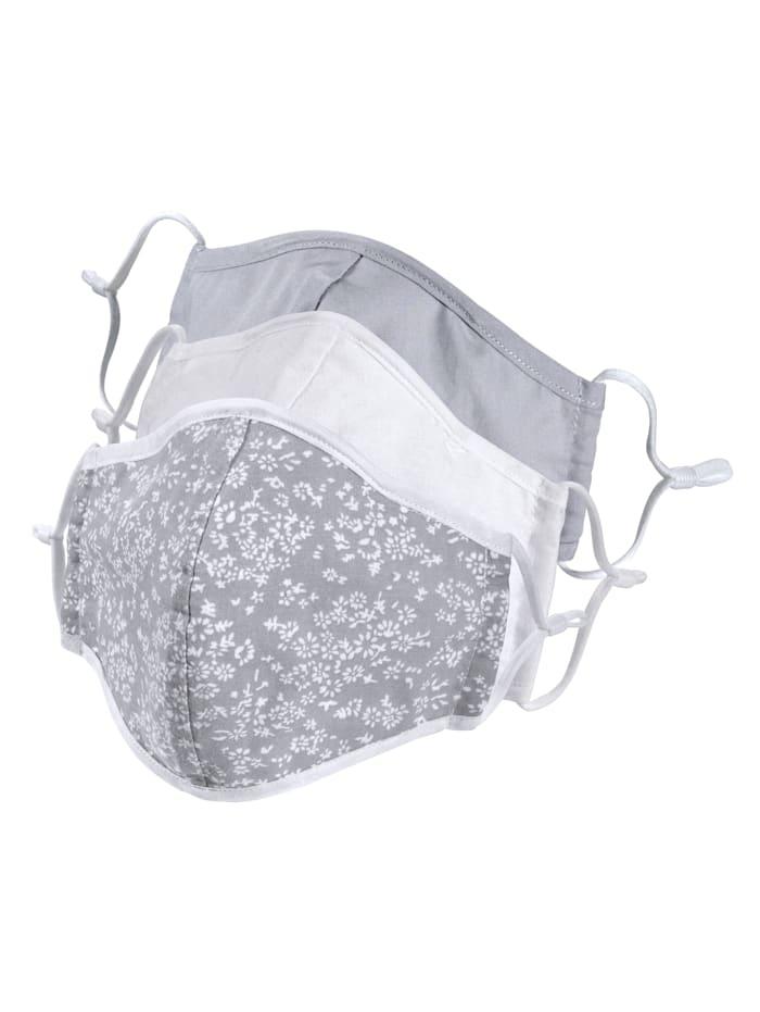 KLiNGEL 3-er Set Gesichtsmasken, Grau/Weiß gemuster