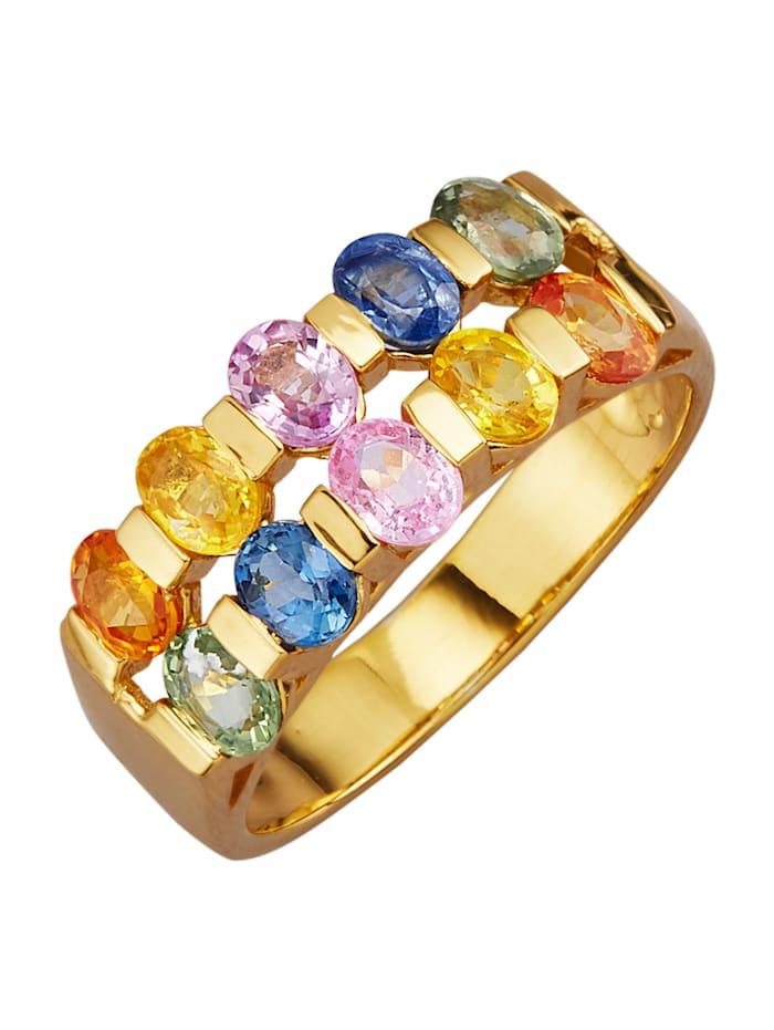 Ring med safirer med safirer i olika färg, Flerfärgad