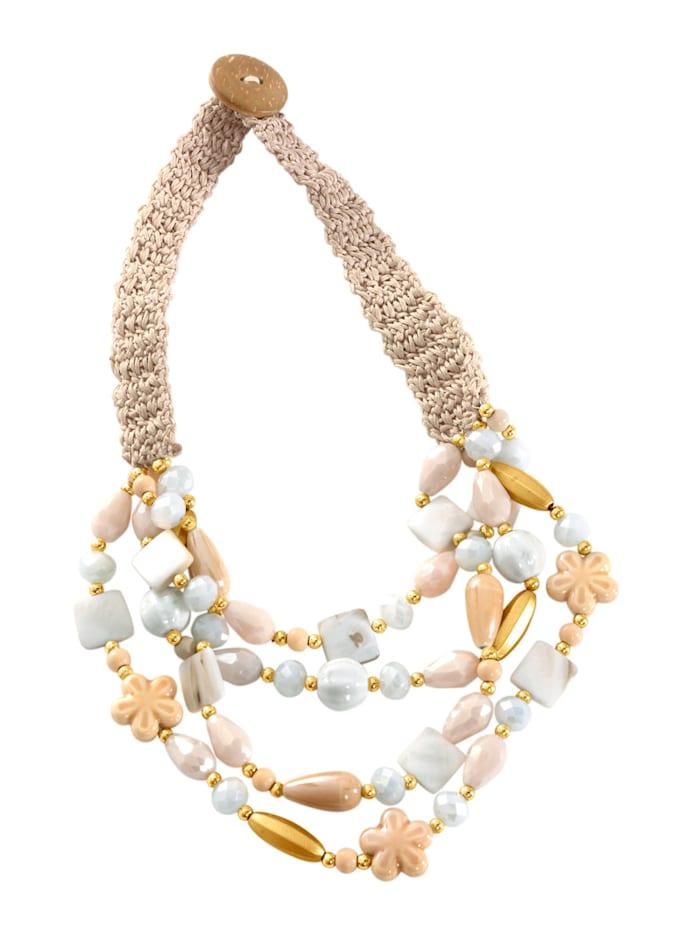 Alba Moda Kette mit Crochet-Teil, Creme-Weiß
