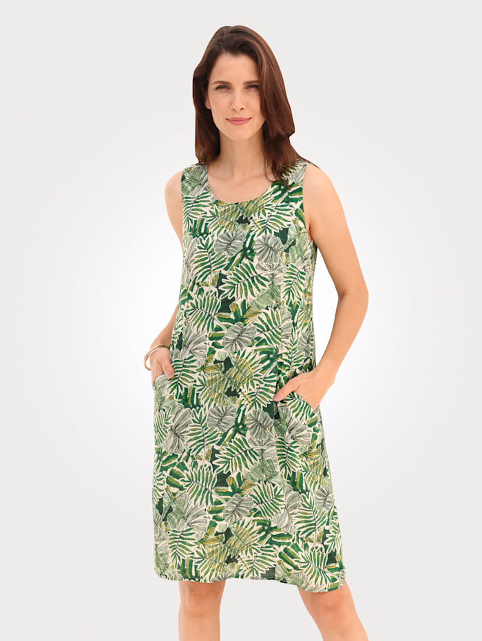 MONA Jurk met tropisch dessin, Groen/Ecru