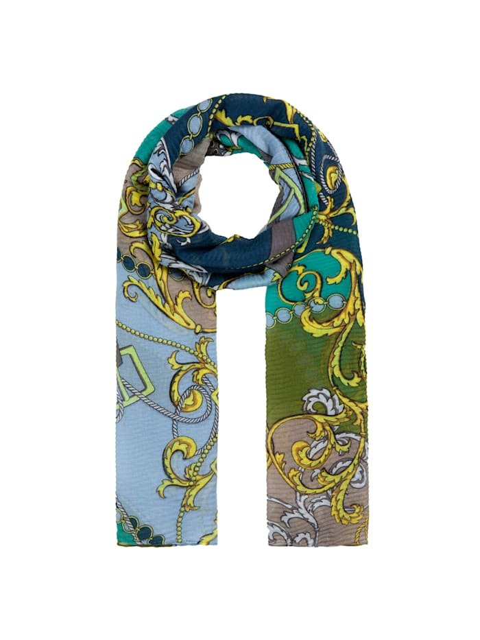 Codello Plissee-Schal mit Foulard-Muster aus recyceltem Polyester, olive