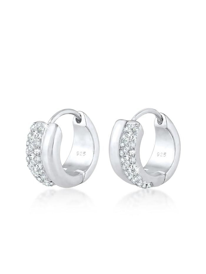 Elli Premium Ohrringe Creolen Kristalle Sparkling 925 Silber, Silber