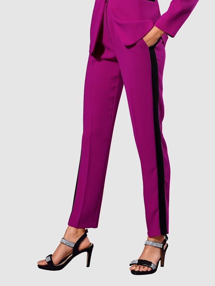 Alba Moda Hose in kontrastfarbiger Verarbeitung, Fuchsia