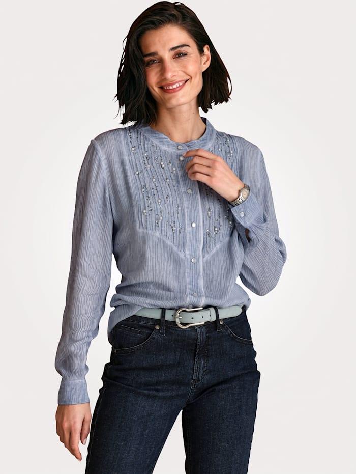 MONA Bluse mit modischer Waschung, Hellblau