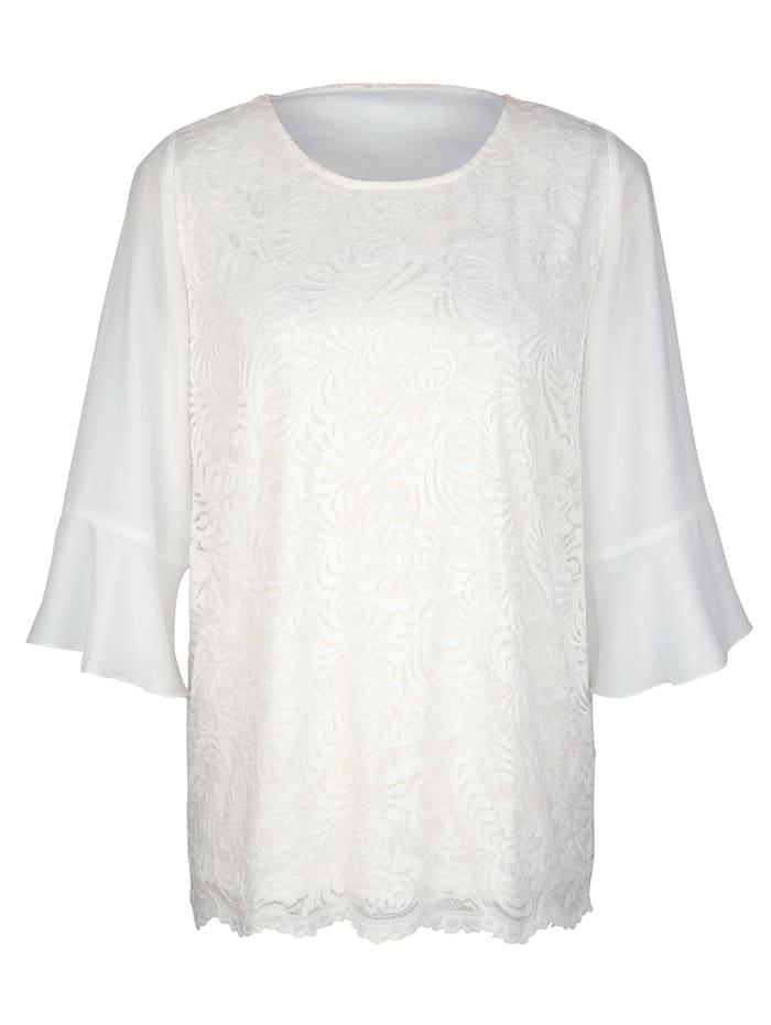 m. collection Shirt met mouwen van chiffon, Wit