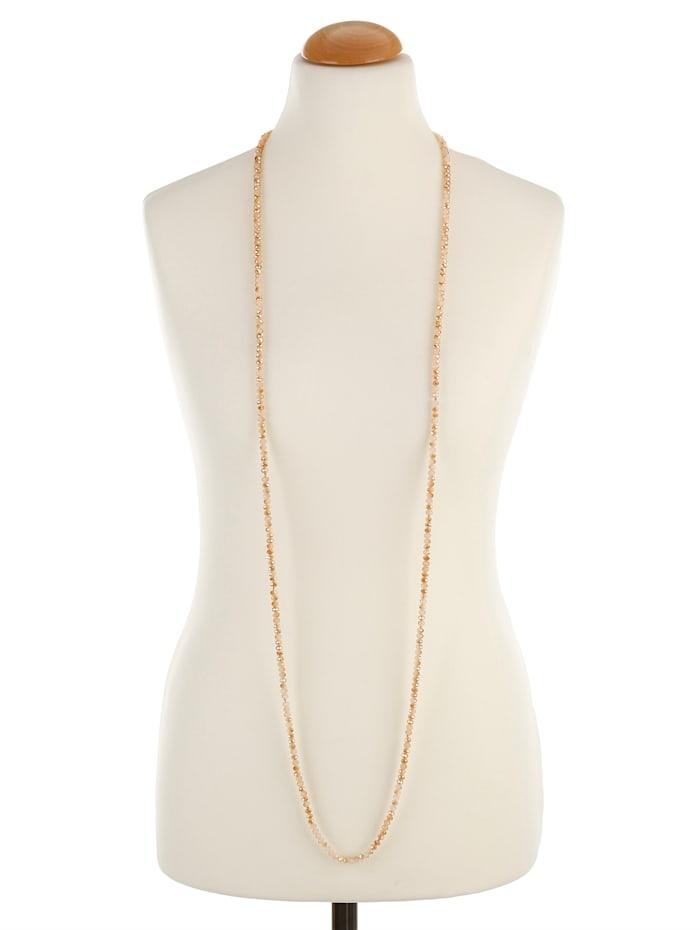 Halskette aus beigefarbenen Glassteinen