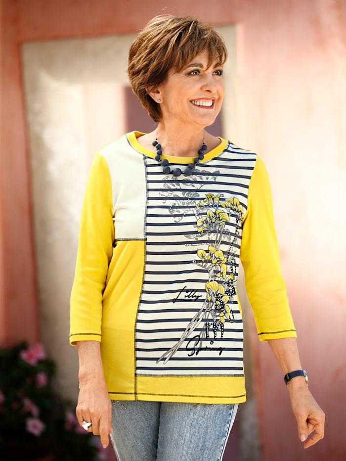 Paola Shirt im Patchwork Look, Gelb/Weiß