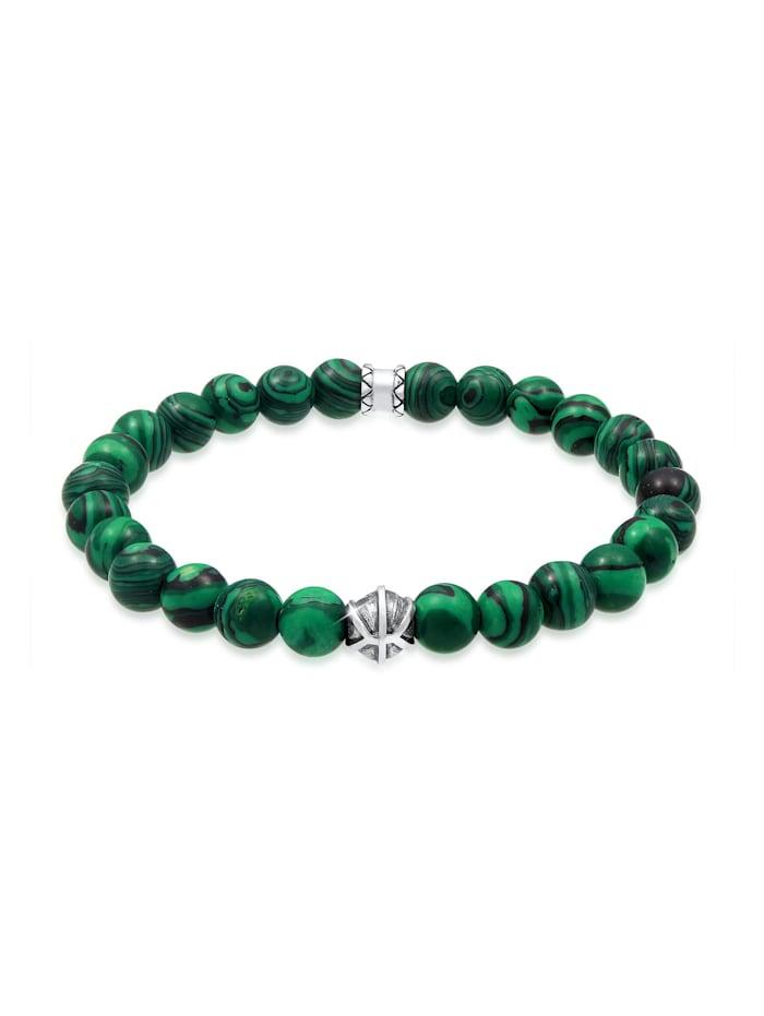 Kuzzoi Armband Herren Oxidiert Achat Malachit Look 925Er Silber, Grün