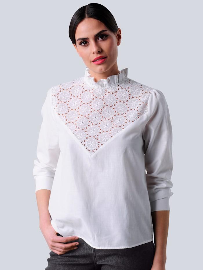 Alba Moda Bluse mit Spitzeneinsatz, Off-white