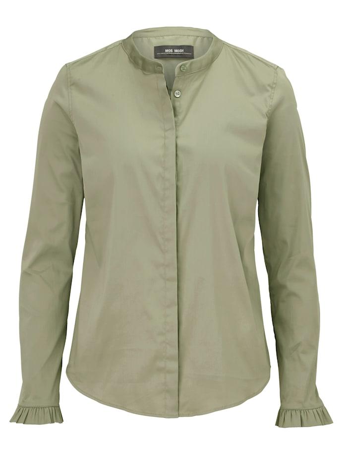 MOS MOSH Bluse mit Rüschendetail, Khaki