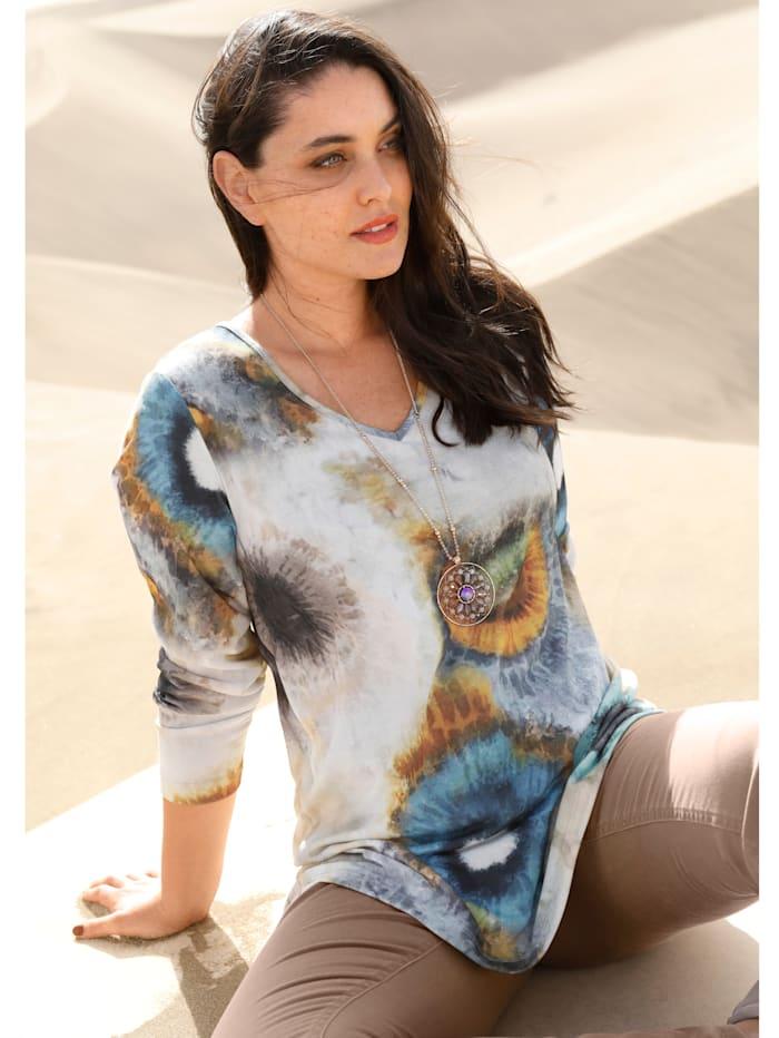 MIAMODA Shirt in batiklook, Beige/Turquoise