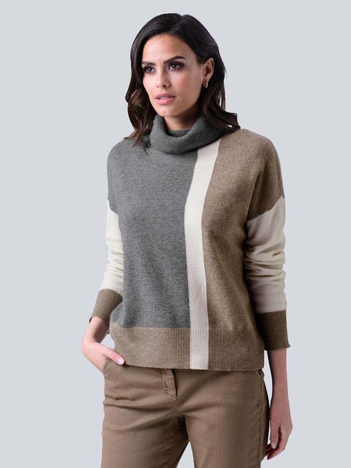 Alba Moda Pullover aus reinem Kaschmir, Grau/Taupe/Off-white