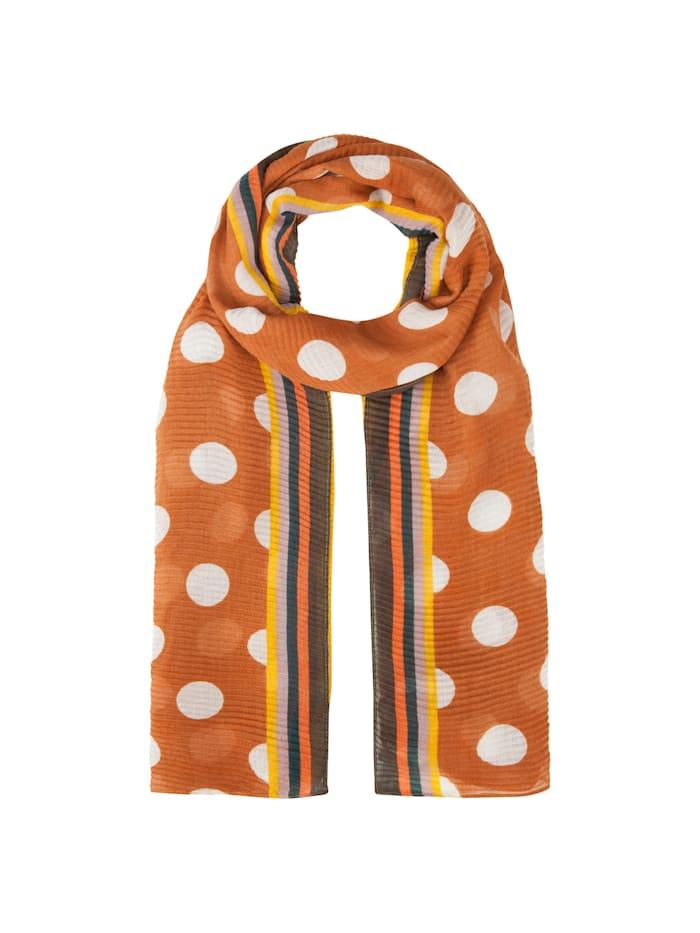Codello Ultrasofter Plissee-Schal mit XL-Tupfen aus recyceltem Polyester, camel