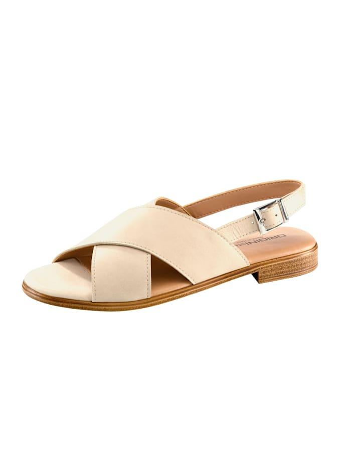 Sandaaltje met gekruiste bandjes, Beige