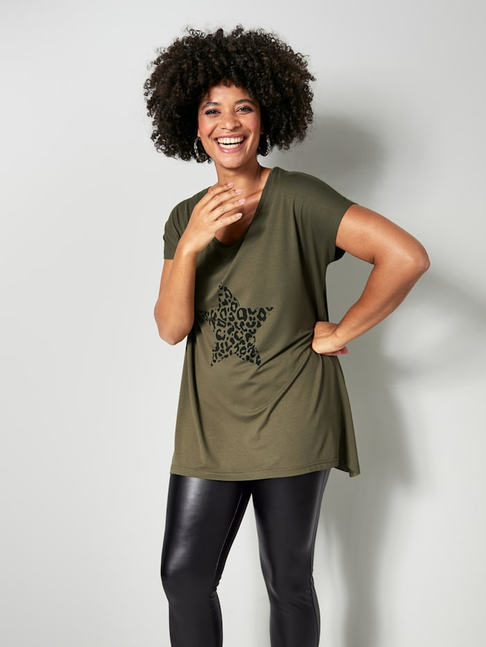 Angel of Style Shirt in kaschierender Vokuhila-Form, Khaki/Schwarz