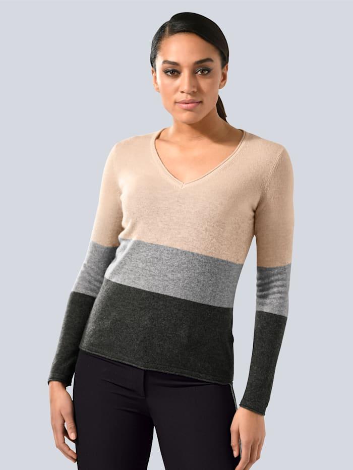Alba Moda Pullover aus einer edlen Misch-Qualität, Rosé/Grau/Anthrazit