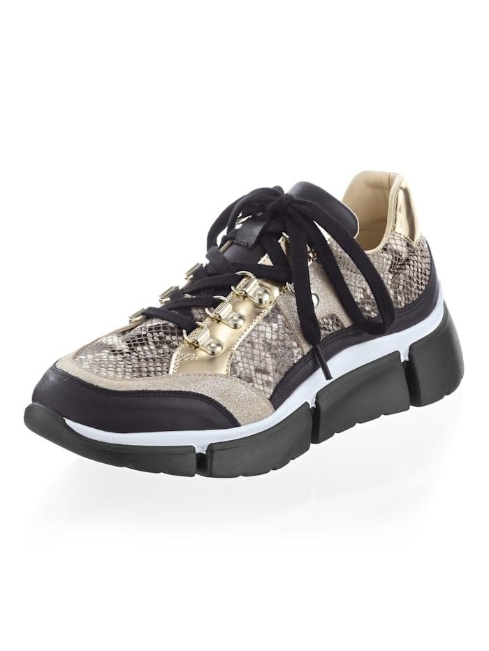 Alba Moda Sneaker in trendy look, Goudkleur/Zwart
