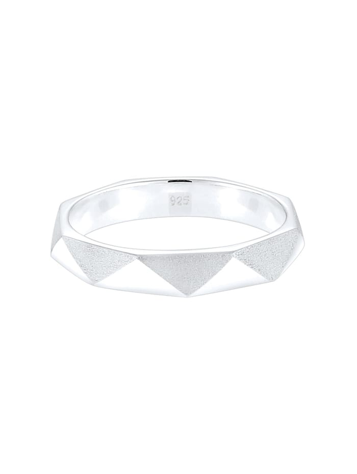 Ring Hexagon Geo Minimal Glänzend Brushed 925 Silber