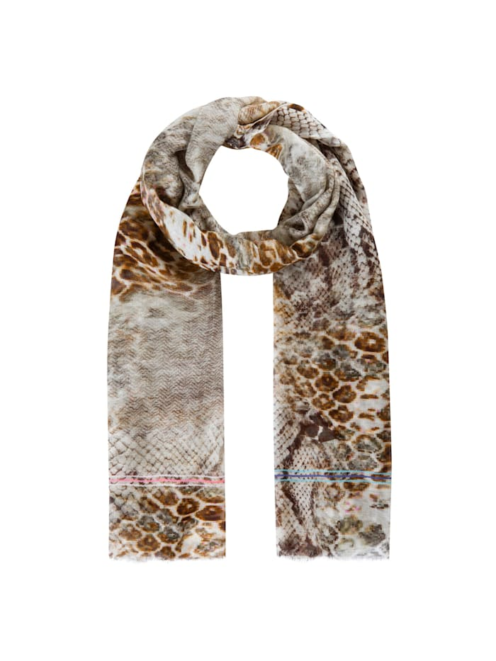 Codello Premium Schal mit Animal-Print aus Modal und Seide, beige