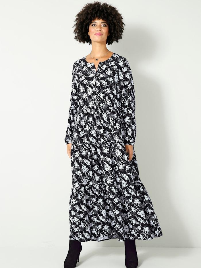 Angel of Style Maxi-jurk met knoopsluiting, Zwart/Wit