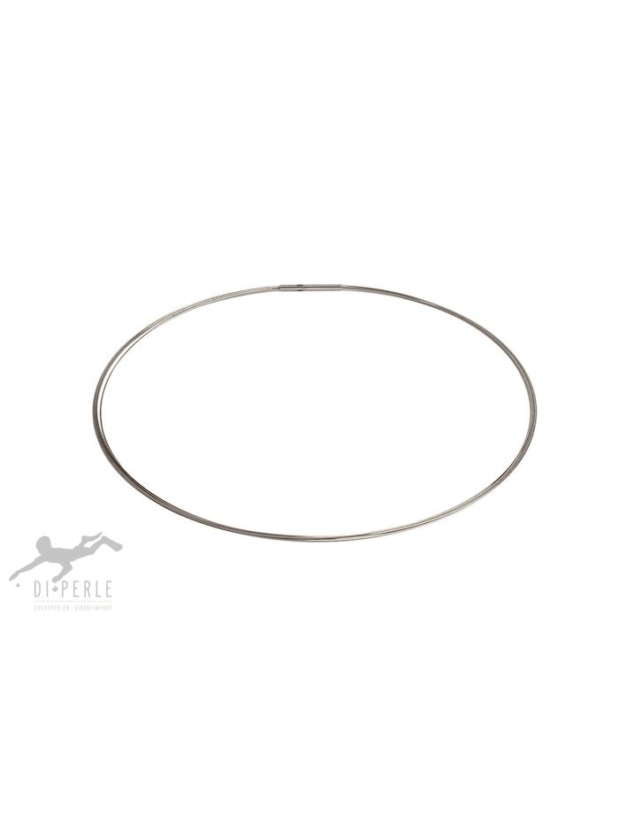 DI PERLE Damen Perlenschmuck Edelstahl Halsreif ( 45 cm ), silber