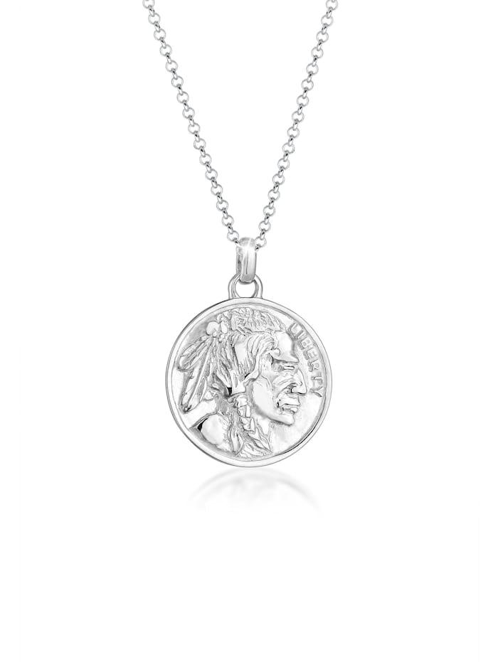 Elli Halskette Münze Plättchen Vintage Boho Festival 925 Silber, Silber