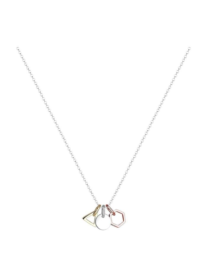 Halskette Geo Dreieck Hexagon Kreis Tricolor Silber