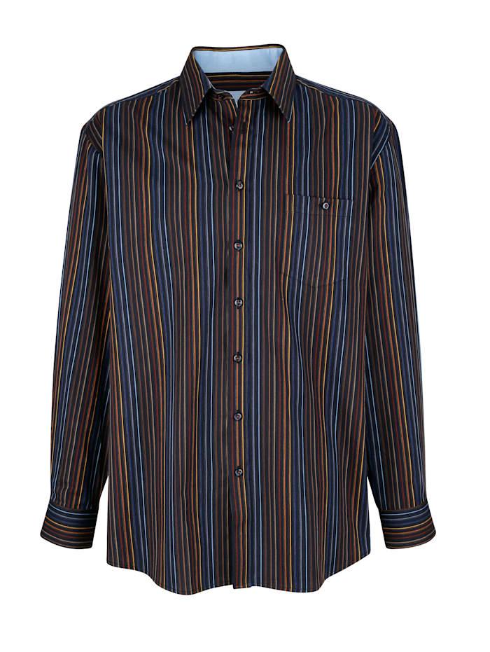 Roger Kent Overhemd van zuiver katoen, Zwart/Multicolor
