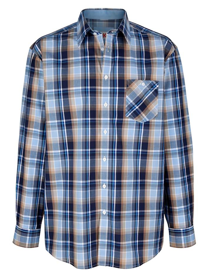 Roger Kent Overhemd met ingeweven ruitpatroon, Blauw/Beige