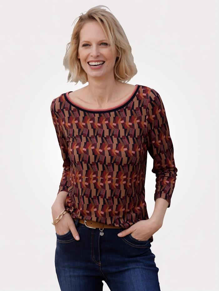 MONA Shirt met grafisch patroon, Bordeaux/Terracotta