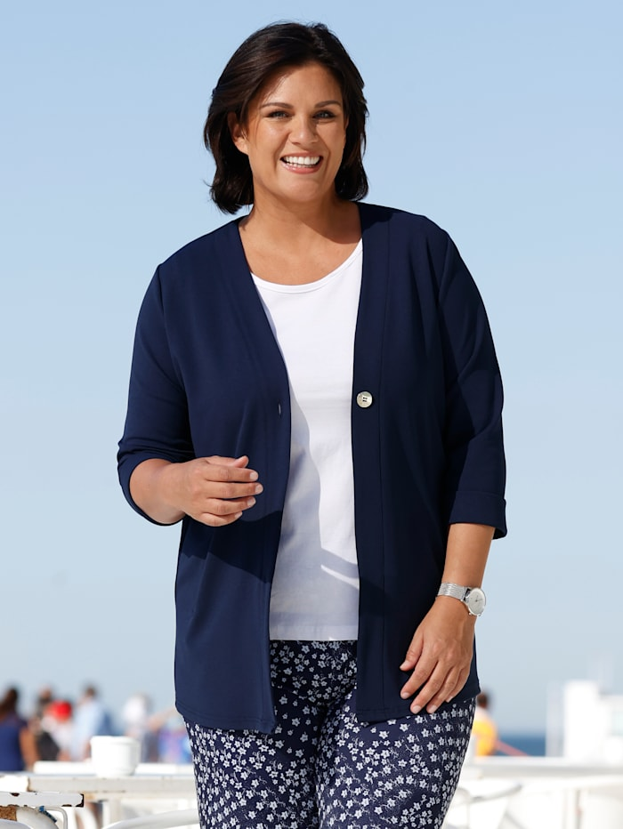 m. collection Shirtjacke aus elastischem Material, Marineblau