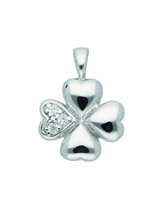 1001 Diamonds Damen Silberschmuck 925 Silber Anhänger Kleeblatt mit Zirkonia, silber