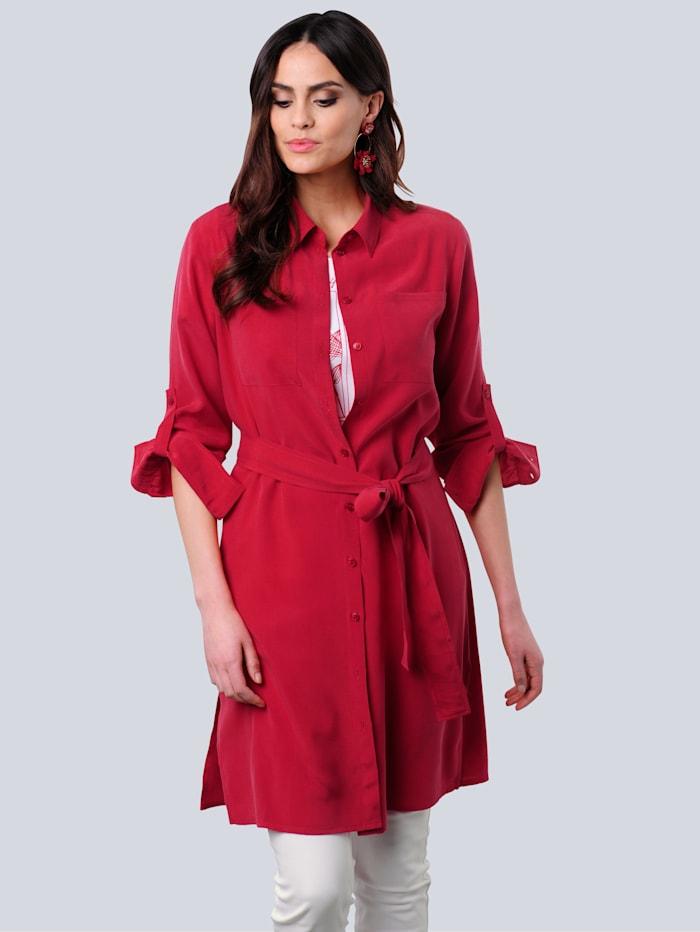 Alba Moda Longbluse aus hochwertigem Materialmix, Rot