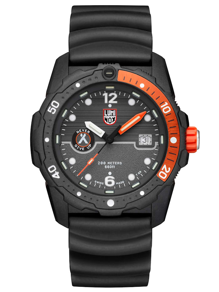 Luminox Herren-Taucheruhr Bear Grylls Survival schwarz / orange, Anthrazit