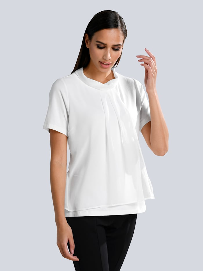 Alba Moda Shirt mit Chiffon Volant, Off-white