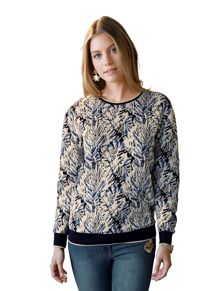 AMY VERMONT Sweatshirt mit metallisiertem Garn, Beige/Schwarz/Blau
