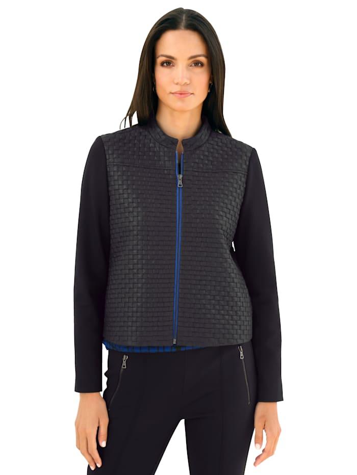 AMY VERMONT Jacke mit grafischem Muster, Schwarz/Royalblau