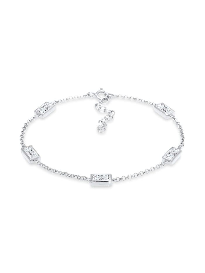 Elli Armband Klassisch Baguette Zirkonia Kristalle 925 Silber, Silber