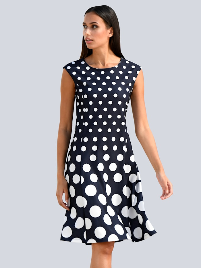 Alba Moda Kleid im Punktedessin allover, Marineblau/Off-white