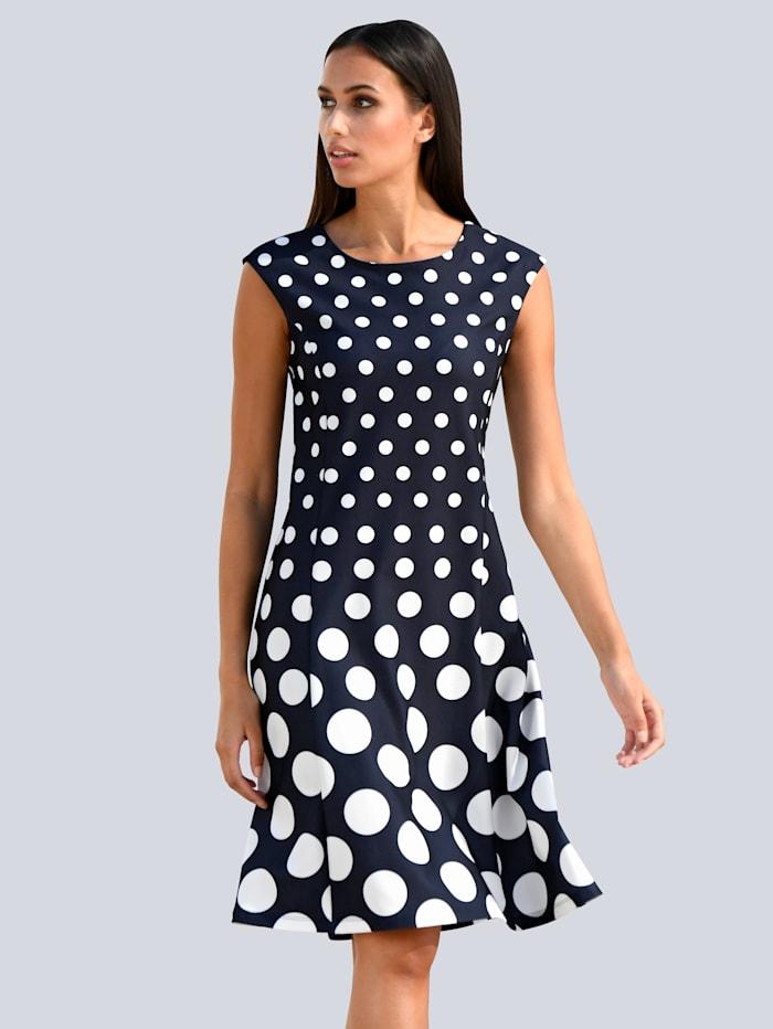 Alba Moda Princesskleid mit Punktedessin aus bequemer Scubaware, Marineblau/Off-white