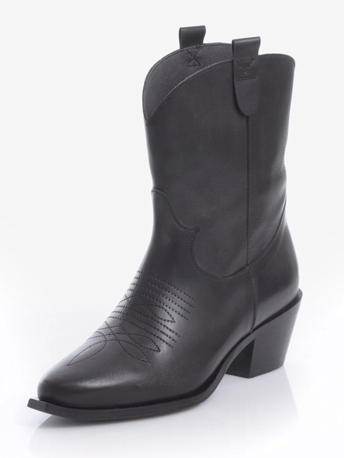 Alba Moda Enkellaarsje in trendy cowboystijl, Zwart