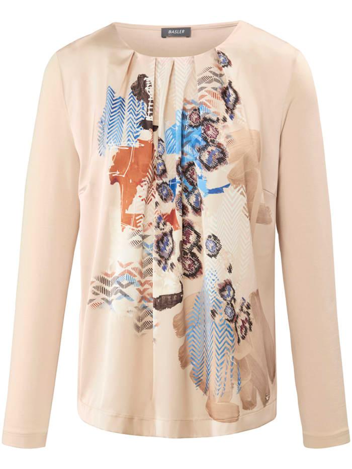 Basler Shirt mit gewebtem Vorderteil und Raffungen, sand multicolour